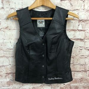 Harley-Davidson Womens Leather Moto Vest Medium